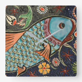 Koi Carp Fish Scale Ceramic Pattern Square Wall Clock