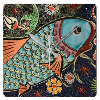 Koi Carp Fish Scale Ceramic Pattern Wall Clock