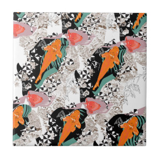Koi carp fish tile