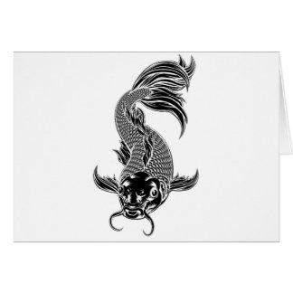 Koi Carp Fish Woodcut Style Card