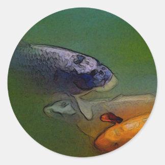 Koi Carp in Fish Pond Round Sticker