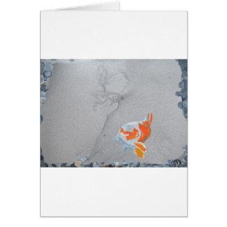Koi carp in pond card
