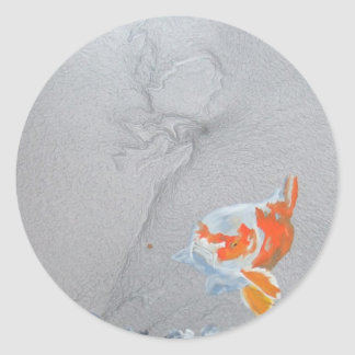 Koi carp in pond round stickers