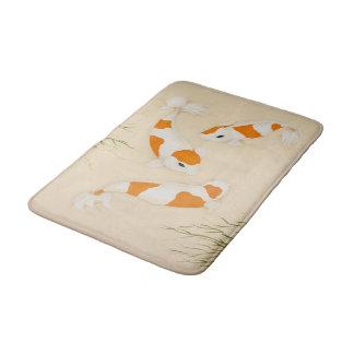 Koi Carp Orange White Swimming in Pond Art Print Bath Mat