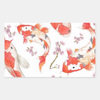 Koi Cherry Blossom Pattern Rectangular Sticker