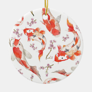Koi Cherry Blossom Pattern Round Ceramic Decoration
