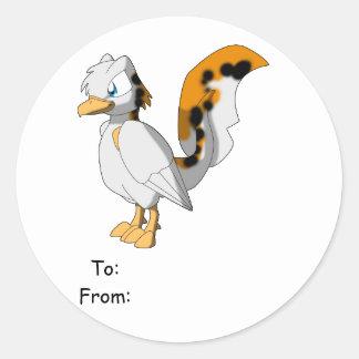 Koi-Colored Reptilian Bird Gift Tag Round Sticker