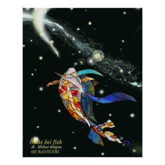 Koi & Dragon in Space Artistic Picture Poster
