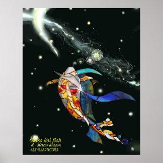 Koi Dragon in Space Artistic Picture Print