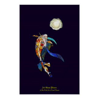 Koi Fish A Pearl Planet in Universe Wallpaper Poster