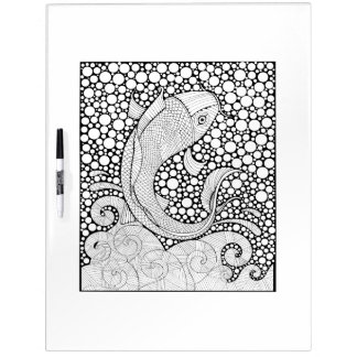 Koi Fish Adult Coloring Dry Erase Board