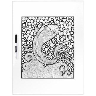 Koi Fish Adult Coloring Dry Erase White Board