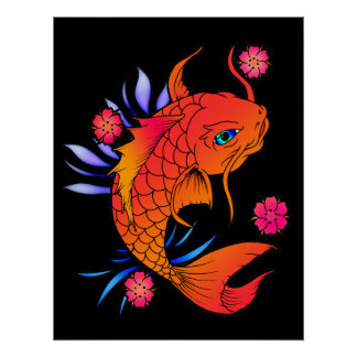 koi fish and flowers poster