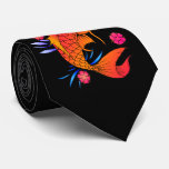 koi fish and flowers tie