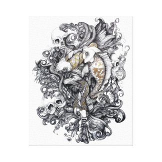 Koi Fish and Skulls Canvas Print