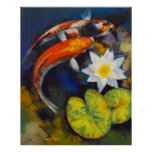 Koi Fish and Water Lily Print
