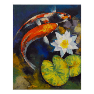 Koi Fish and Water Lily Print