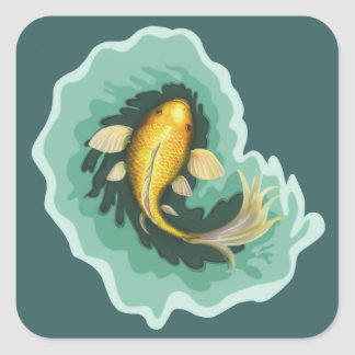 Koi Fish Art Square Sticker