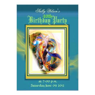 Koi Fish Blue and Gold Birthday Party Invitation