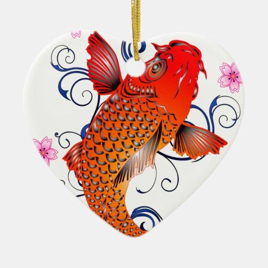Koi Fish Carp Eastern Blossom Christmas Ornament