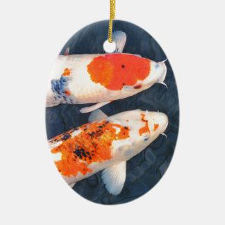Koi fish ceramic oval decoration