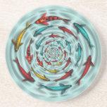 Koi Fish Circle Sandstone Coaster