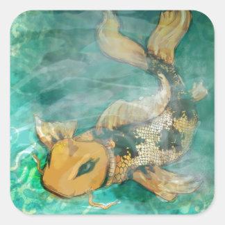 Koi Fish Design Square Stickers