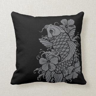 Koi Fish Gray on Black Throw Pillow