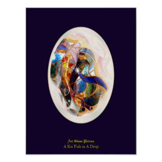 Koi Fish in A Drop Dreaming Space Wall Art Poster
