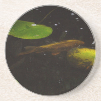 Koi Fish in a Lily Pond Beverage Coasters