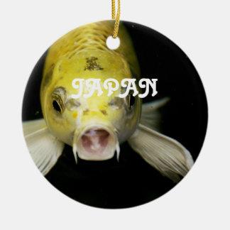 Koi Fish in Japan Round Ceramic Decoration