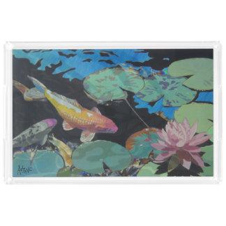 Koi Fish in Lily Pond Acrylic Tray