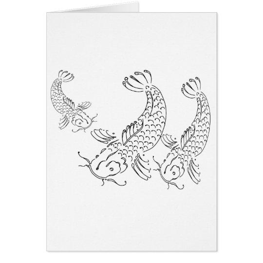 Koi fish modern design black white card