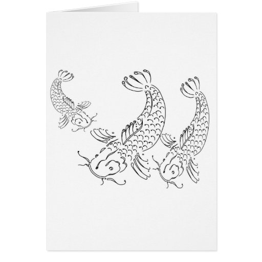 Koi fish modern design black white greeting card