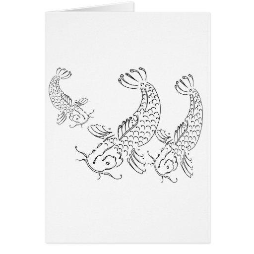 Koi fish modern design black white greeting card