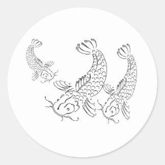 Koi fish modern design black white sticker