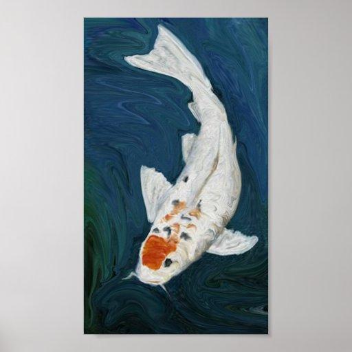 """Koi"" Fish Oil  Reproduction Art Print"