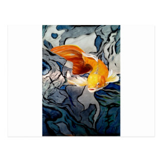 Koi fish on metal 'Swimming Through Colors' Postcard