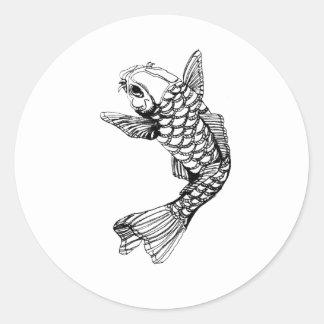 Koi Fish Outline Round Sticker