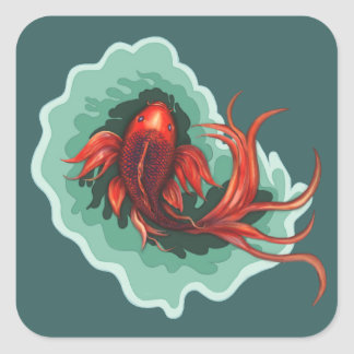 Koi Fish Painting Square Sticker