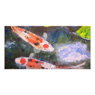 Koi Fish Pond Photo Card Template