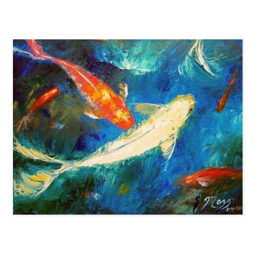 Koi Fish Pond Postcard