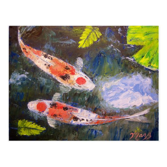 Koi Fish Pond Postcard