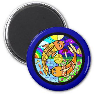 Koi Fish Pyschedelic Elemental Mandela Magnet