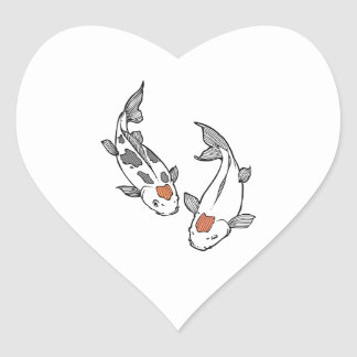 KOI FISH HEART STICKERS