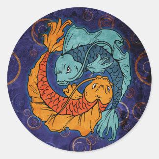 Koi Fish Round Stickers