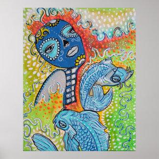 Koi Fish Sugar Skull Poster