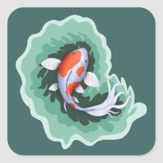 Koi Fish Themed Square Sticker