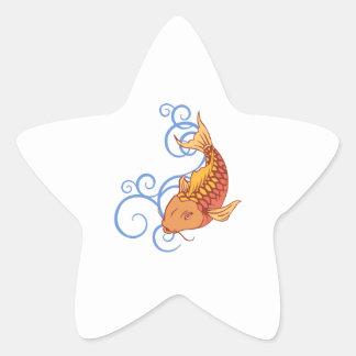 KOI FISH WATER SWIRLS STAR STICKERS