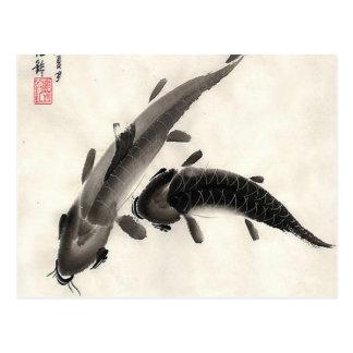 Koi Fish Watercolor Postcard